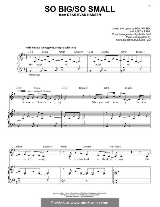 So Big/So Small (from Dear Evan Hansen): Для голоса и фортепиано by Justin Paul, Benj Pasek