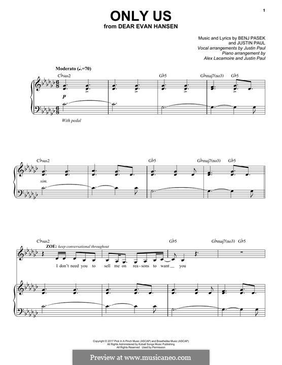 Only Us (from Dear Evan Hansen): Для голоса и фортепиано by Justin Paul, Benj Pasek