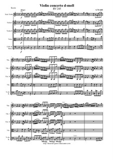 Concerto for Violin and Strings in D Minor, RV 245: Score and parts by Антонио Вивальди