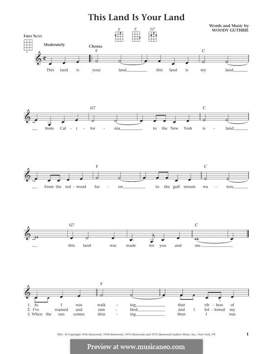This Land Is Your Land (The New Christy Minstrels): Для укулеле by Woody Guthrie