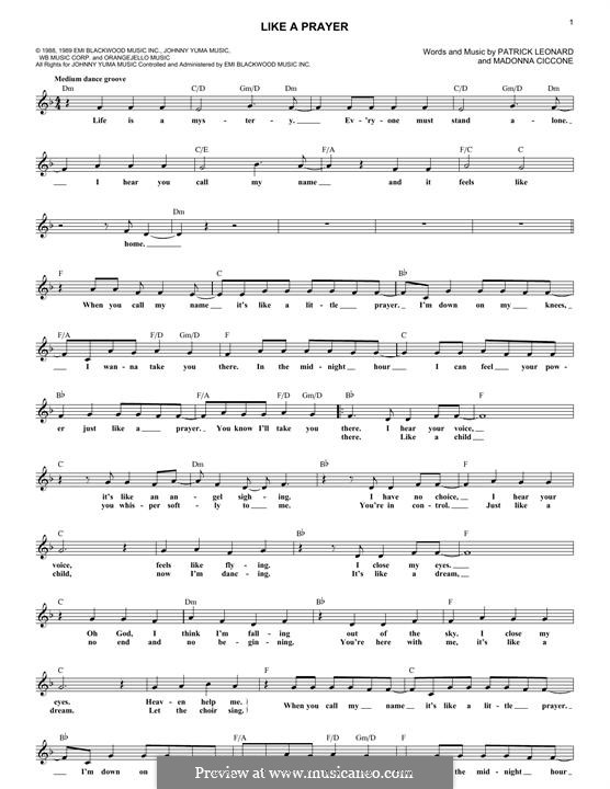 Like a Prayer: Мелодия by Madonna, Patrick Leonard