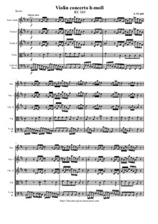 Concerto for Violin and Strings in B Minor, RV 389: Score and parts by Антонио Вивальди