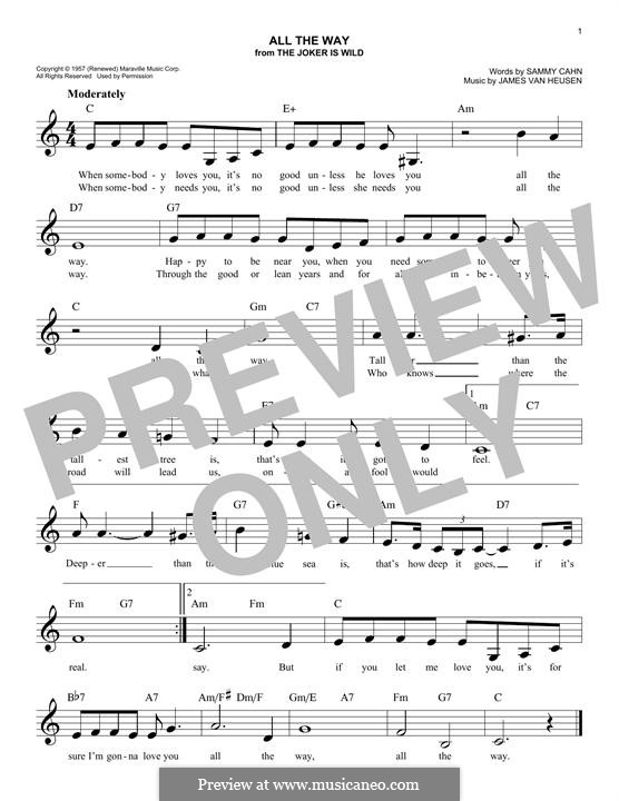 All the Way (Frank Sinatra): Мелодия by Jimmy Van Heusen
