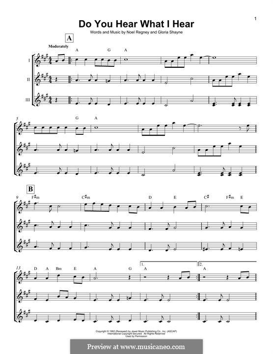 Do You Hear What I Hear (Instrumental version): For ukulele (trio) by Gloria Shayne, Noël Regney