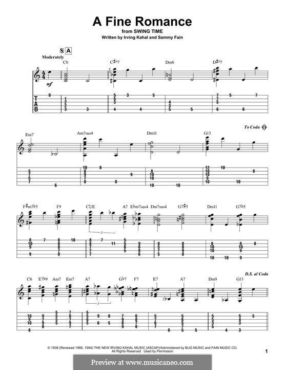 A Fine Romance: Гитарная табулатура by Джером Керн