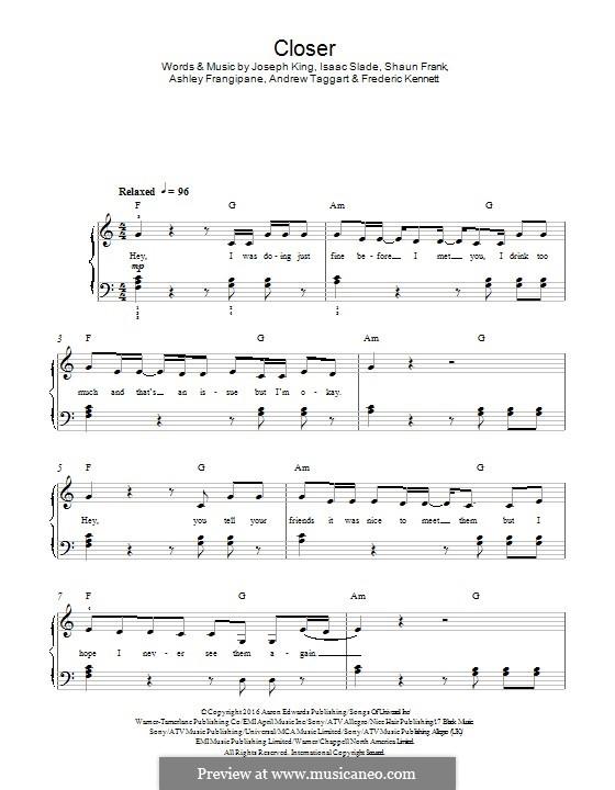 Closer (The Chainsmokers): Для фортепиано by Isaac Slade, Joseph King, Andrew Taggart, Ashley Frangipane, Frederic Kennett, Shaun Frank