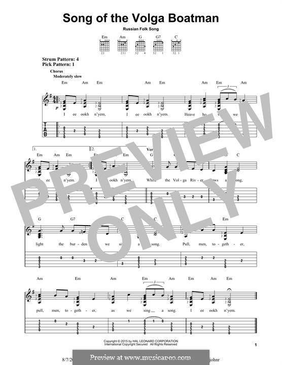 Song of the Volga Boatman: Гитарная табулатура by folklore