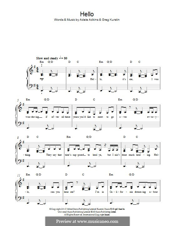 Hello: Для фортепиано by Adele, Greg Kurstin