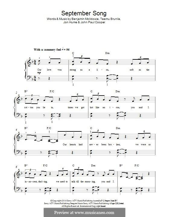 September Song (JP Cooper): Для фортепиано by Teemu Brunila, Benjamin Mclldowie, Jon Hume, John Paul Cooper