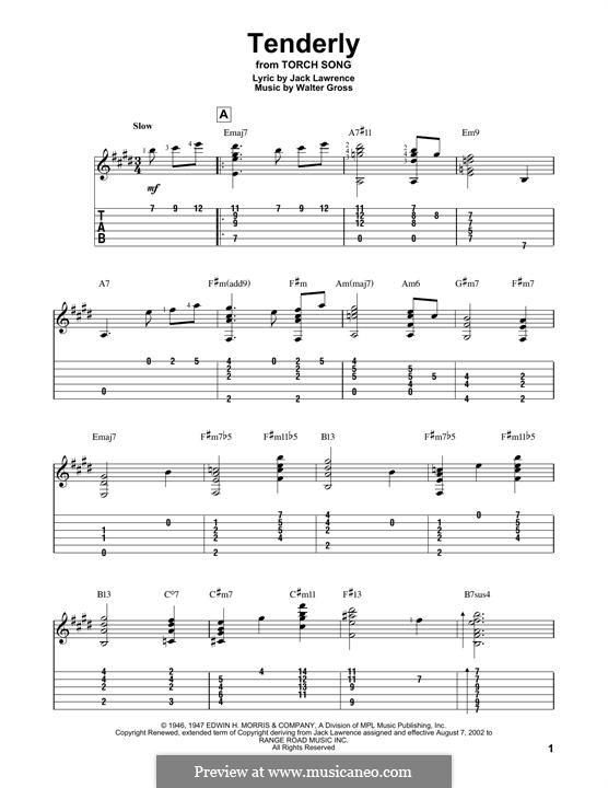 Tenderly: Гитарная табулатура by Walter Gross