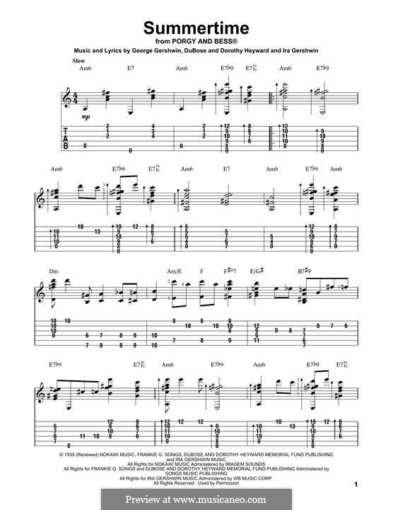 Summertime: Гитарная табулатура by Джордж Гершвин