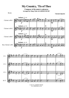 My Country, 'Tis Of Thee (America): For clarinet quartet by folklore