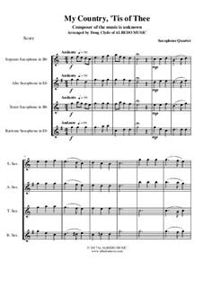 My Country, 'Tis Of Thee (America): For saxophone quartet by folklore