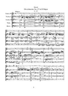 Дивертисмент No.17 ре мажор, K.334: Партитура by Вольфганг Амадей Моцарт