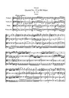 Струнный квартет No.12 cи-бемоль мажор, K.172: Партитура by Вольфганг Амадей Моцарт