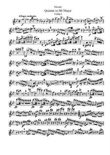 Струнный квинтет No.1 си-бемоль мажор, K.174: Партия I скрипки by Вольфганг Амадей Моцарт