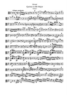 Струнный квинтет No.1 си-бемоль мажор, K.174: Партия I альта by Вольфганг Амадей Моцарт
