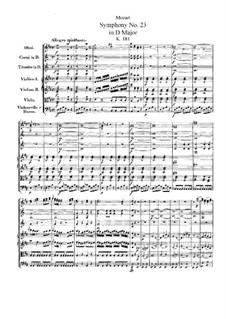 Симфония No.23 ре мажор, K.181: Симфония No.23 ре мажор by Вольфганг Амадей Моцарт