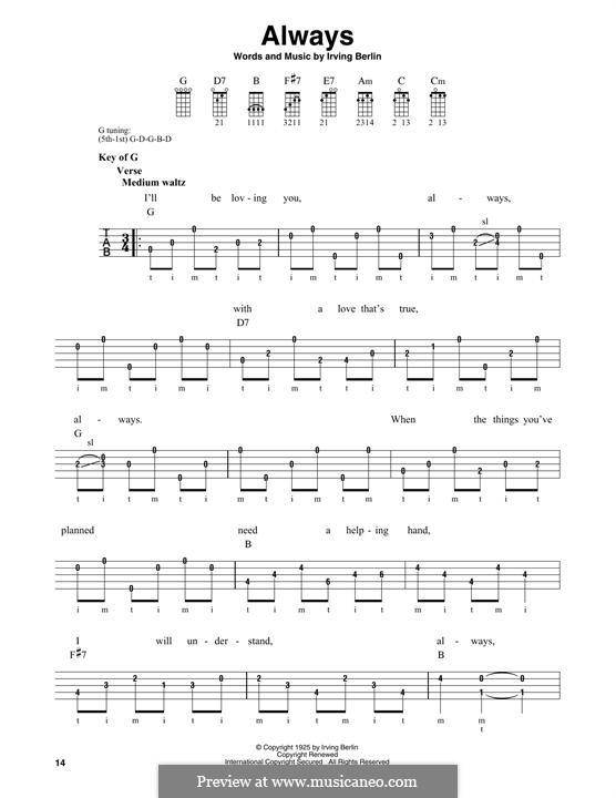 Always: For banjo by Ирвинг Берлин