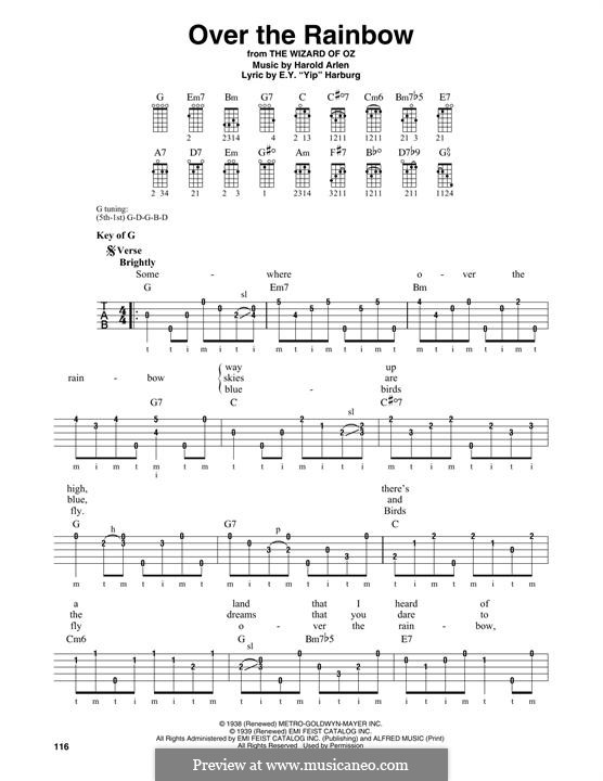 Over the Rainbow (from The Wizard of Oz): For banjo by Harold Arlen