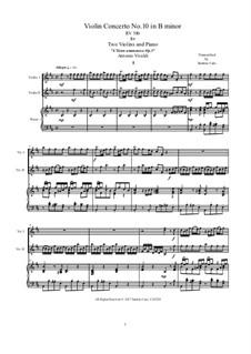 Концерт для четырех скрипок, виолончели и струнных No.10 си минор, RV 580: Version for two violins and piano by Антонио Вивальди