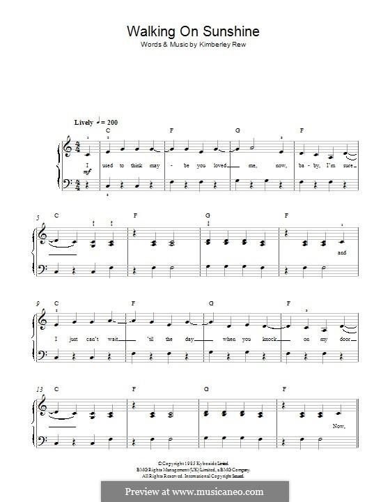 Walking on Sunshine (Katrina and The Waves): Для фортепиано by Kimberley Rew