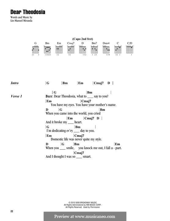 Dear Theodosia: Текст, аккорды by Lin-Manuel Miranda