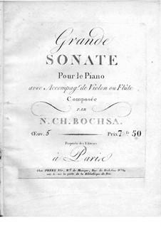 Большая соната для фортепиано и скрипки (или флейты), Op.5: Партитура для двух исполнителей by Роберт Никола Шарль Бокса