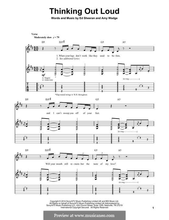 Thinking Out Loud: Гитарная табулатура by Ed Sheeran, Amy Wadge