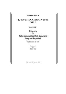 Двенадцать концертов: No.1-6 – score, parts by Антонио Вивальди