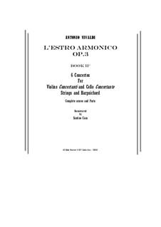 Двенадцать концертов: No. 2-6 – score, parts by Антонио Вивальди