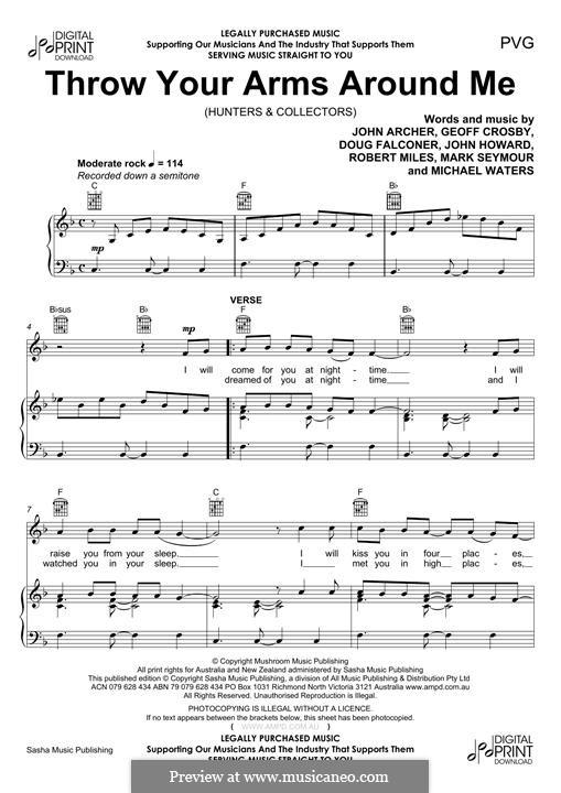 Throw Your Arms Around Me (Hunters & Collectors): Для голоса и фортепиано (или гитары) by Doug Falconer, Geoff Crosby, John Archer, John Howard, Mark Seymour, Michael Waters, Robert Miles