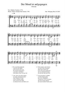 Der Mond ist aufgegangen: For mixed choir by Иоганн Авраам Шульц