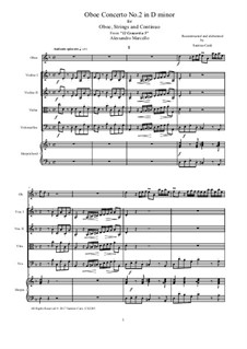 Concerto for Oboe and Stings in D Minor, Op.2: Score and parts, AmCS2245 by Алессандро Марчелло