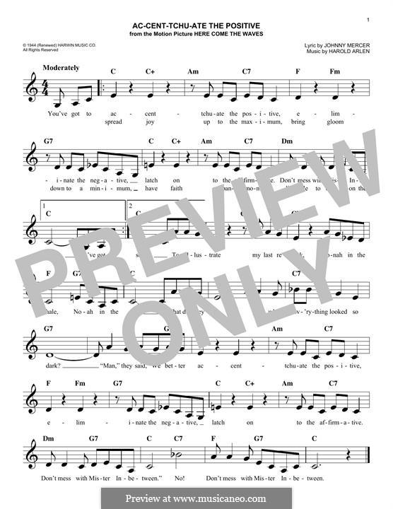 Ac-cent-tchu-ate the Positive: Мелодия by Harold Arlen