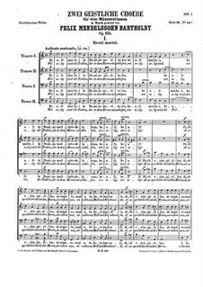 Two Sacred Choruses, Op.115: For male choir a cappella by Феликс Мендельсон-Бартольди