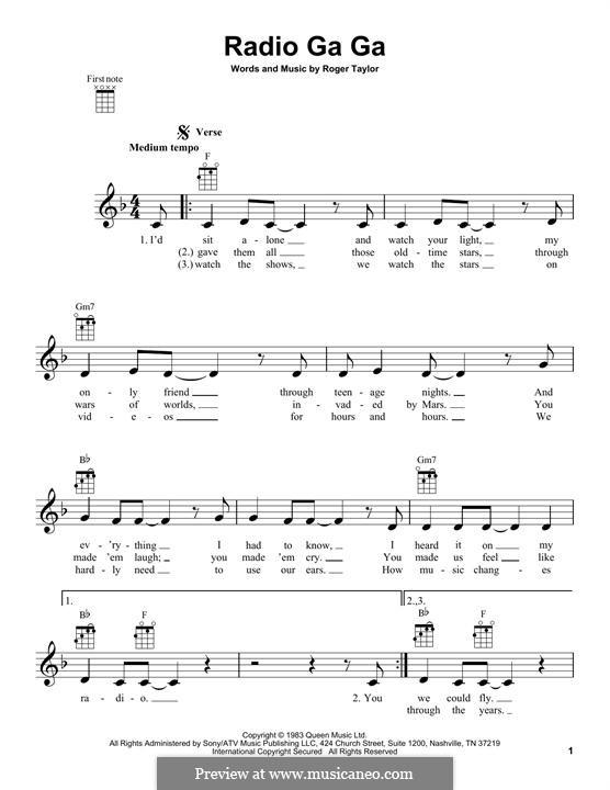 Radio Ga Ga (Queen): Для укулеле by Roger Taylor
