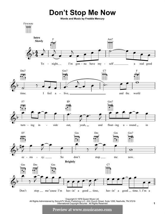 Don't Stop Me Now (Queen): Для укулеле by Freddie Mercury
