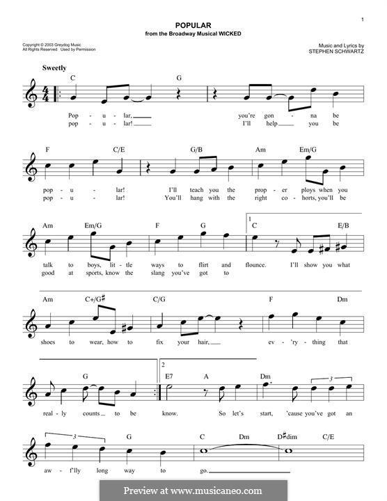 Popular (from Wicked): Мелодия by Stephen Schwartz
