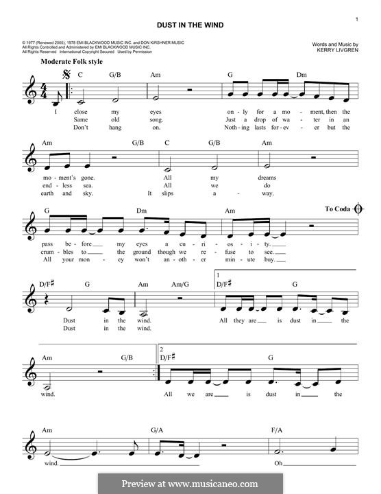 Dust in the Wind (Kansas): Мелодия by Kerry Livgren
