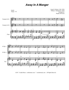 Away in a Manger: For two Bb-trumpets and piano by Джеймс Р. Мюррей