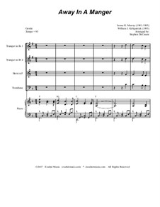 Away in a Manger: For brass quartet and piano by Джеймс Р. Мюррей