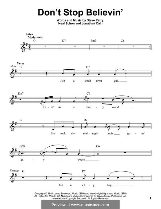 Don't Stop Believin': Lyrics and chords (Glee Cast) by Jonathan Cain, Neal Schon, Steve Perry