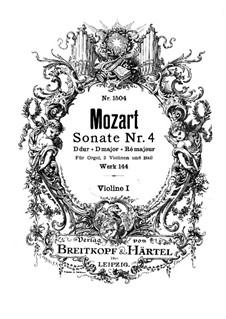 Церковная соната для двух скрипок, органа и бассо континуо No.4 ре мажор, K.144: Скрипка I by Вольфганг Амадей Моцарт