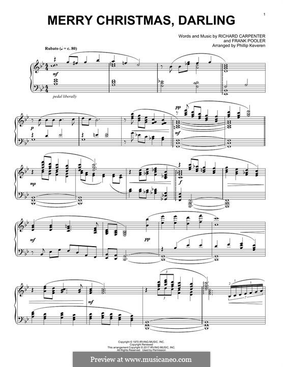 Merry Christmas, Darling (Carpenters): Для фортепиано by Frank Pooler, Richard Carpenter