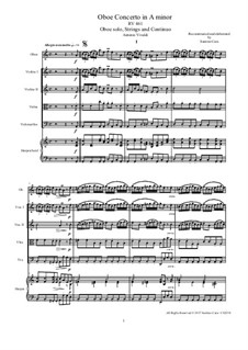 Concerto for Oboe and Strings in A Minor, RV 461: Score and parts by Антонио Вивальди