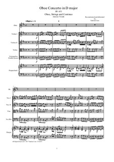 Concerto for Oboe and Strings in D Major , RV 453: Score and parts by Антонио Вивальди