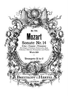 Церковная соната для оркестра No.16 до мажор, K.329 (317a): Партия второй трубы by Вольфганг Амадей Моцарт