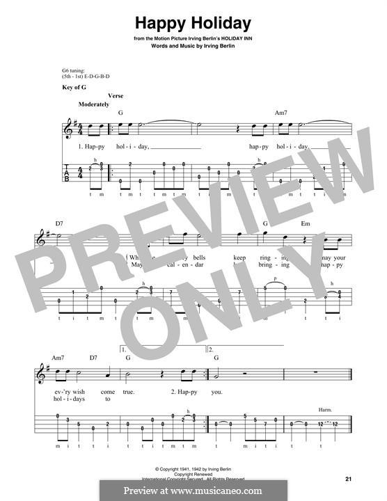 Happy Holiday: For banjo by Ирвинг Берлин