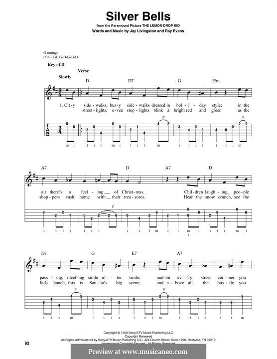 Silver Bells: For banjo by Jay Livingston, Raymond Evans